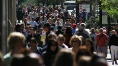 Crowded Sidewalk Slow Motion 2 Stock Footage