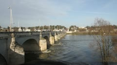 Traffic crossing Pont Wilson over River Loire Tours France Stock Footage