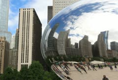 Chicago Reflection in The Bean - stock footage