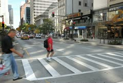 Michigan Ave Crosswalk Stock Footage