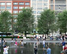 People at Crown Fountain Stock Footage