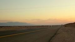 Road in the Desert- tilt down from sky Stock Footage