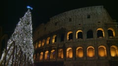 Colosseum & Christmas tree (2a) Stock Footage