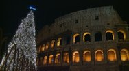 Stock Video Footage of Colosseum & Christmas tree (2a)
