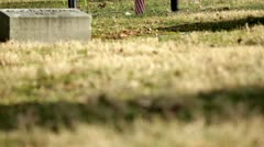 Grave with flowers and American flag tilt shot Stock Footage