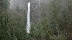 Multnomah Falls at a distance! Stock Footage