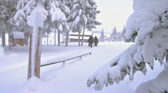 Snowshoeing From the House to the Car in Winter 1 Stock Footage