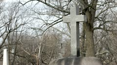 Large cross in cemetery Stock Footage