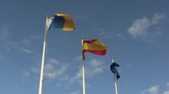 Three flags blowing in the wind. - stock footage