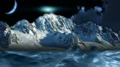 Beautiful night sky with mountains - stock footage