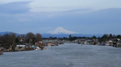 Marina on Columbia River Gorge with Mount Hood View 1080p Stock Footage
