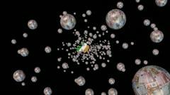 Moving through euro spheres to Ireland map flag animation Stock Footage