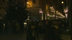 Shoppers admire Christmas lights Stock Footage