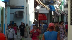 Crowded Street Caribbean Stock Footage