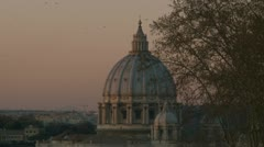 St Peters Dome at Sunset, in Rome Stock Footage