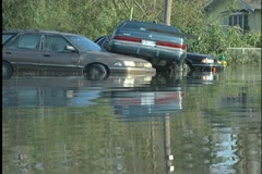 Stock Video Footage of Slidell Flooded Cars