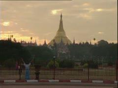 Shwedagon Pagoda, Rangoon, Burma. - stock footage