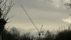 Construction Crane Silhouette Stock Footage