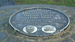 Oxford Canal Plaque Stock Footage