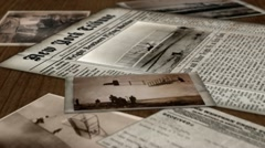 Wright Brothers Montage of newspaper headlines, photos, and Orville and Wilbur. Stock Footage