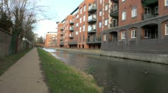 Oxford Canal and Residential Apartments Stock Footage