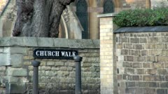 Church Walk Sign Stock Footage