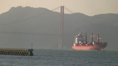 Ocean Barge and Golden Gate Bridge Stock Footage