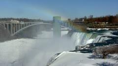 Niagara Falls in Winter - Rainbow Bridge Stock Footage
