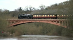 Steam Locomotive over Bridge Stock Footage