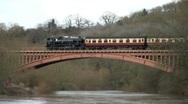 Steam Locomotive over Bridge Stock Footage