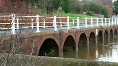Arley Village Bridge by River Severn Stock Footage