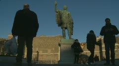 Caesar and tourists timelapse in Roma Stock Footage