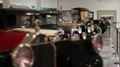 Old cars in museum rack focus Stock Footage