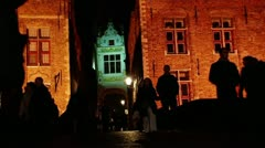 Pedestrian in Bruges' streets at night1 Stock Footage