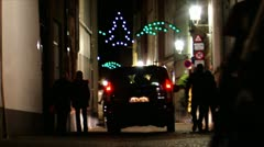 Pedestrian and bicycles in Bruges' streets at night1 Stock Footage