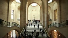 Winged Nike statue in the Louvre museum in Paris Stock Footage