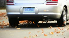 Car Drives Through Fall Leaves in Virginia Beach, VA Stock Footage