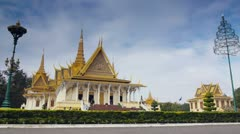 Tourists visiting Royal Palace in Phnom Penh, Cambodia Stock Footage
