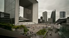 La Defense business district in Paris - timelapse Stock Footage
