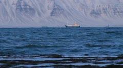 Icelandic Fishing Boat, Snowy Fjord Beach seaweed Stock Footage