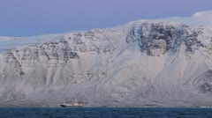 Icelandic Fishing Boat, Snowy Fjord, Rosy Sky2 - stock footage