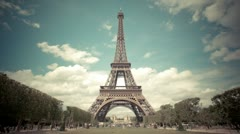Vintage split tone Eiffel tower timelapse Stock Footage
