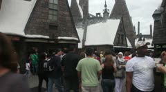 Hogsmeade village full of visitors Stock Footage