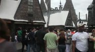 Stock Video Footage of Hogsmeade village full of visitors
