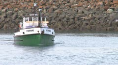 Boat Leaving Harbor with Building Materials 1 Stock Footage