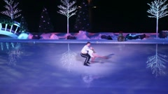 Slow motion (3X) ice skating Stock Footage