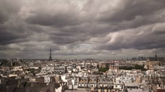Timelapse looking over Paris with Eiffel tower - stock footage