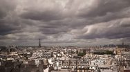 Stock Video Footage of Timelapse looking over Paris with Eiffel tower