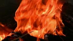 Burning wood smoking fire Stock Footage