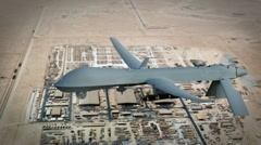UAV (Unmanned Drone) over the Middle East gathering Recon Stock Footage